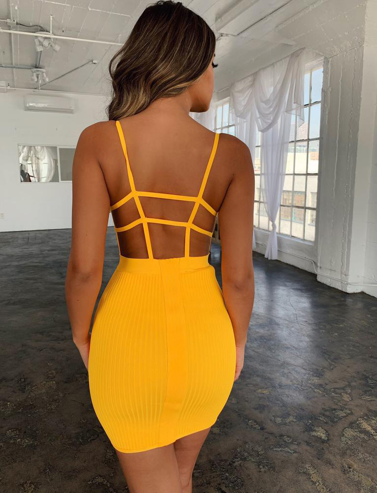 Summer Sexy Bandage Hollow Out Dress Women Fashion Sleeveless Backless Bodycon Party Club Dress Mini Wrap Dress