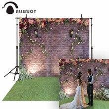 Allenjoy mariage photographie toile de fond printemps fleur brique jardin pelouse Couple arrière plan Photo Sutido Photophone Photocall décor