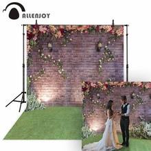 Allenjoyการถ่ายภาพแต่งงานฉากหลังดอกไม้ฤดูใบไม้ผลิอิฐสวนสนามหญ้าคู่ภาพพื้นหลังSutido Photophone Photocall Decor