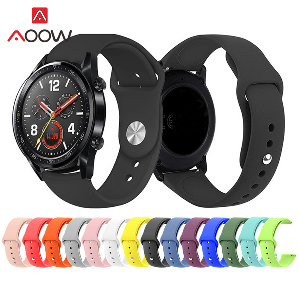 20mm 22mm Silicone Watchband For Samsung Galaxy Watch Active 42mm 46mm Huawei Gt Gear Sport S2 S3 Huami Amazfit Bip Band Strap