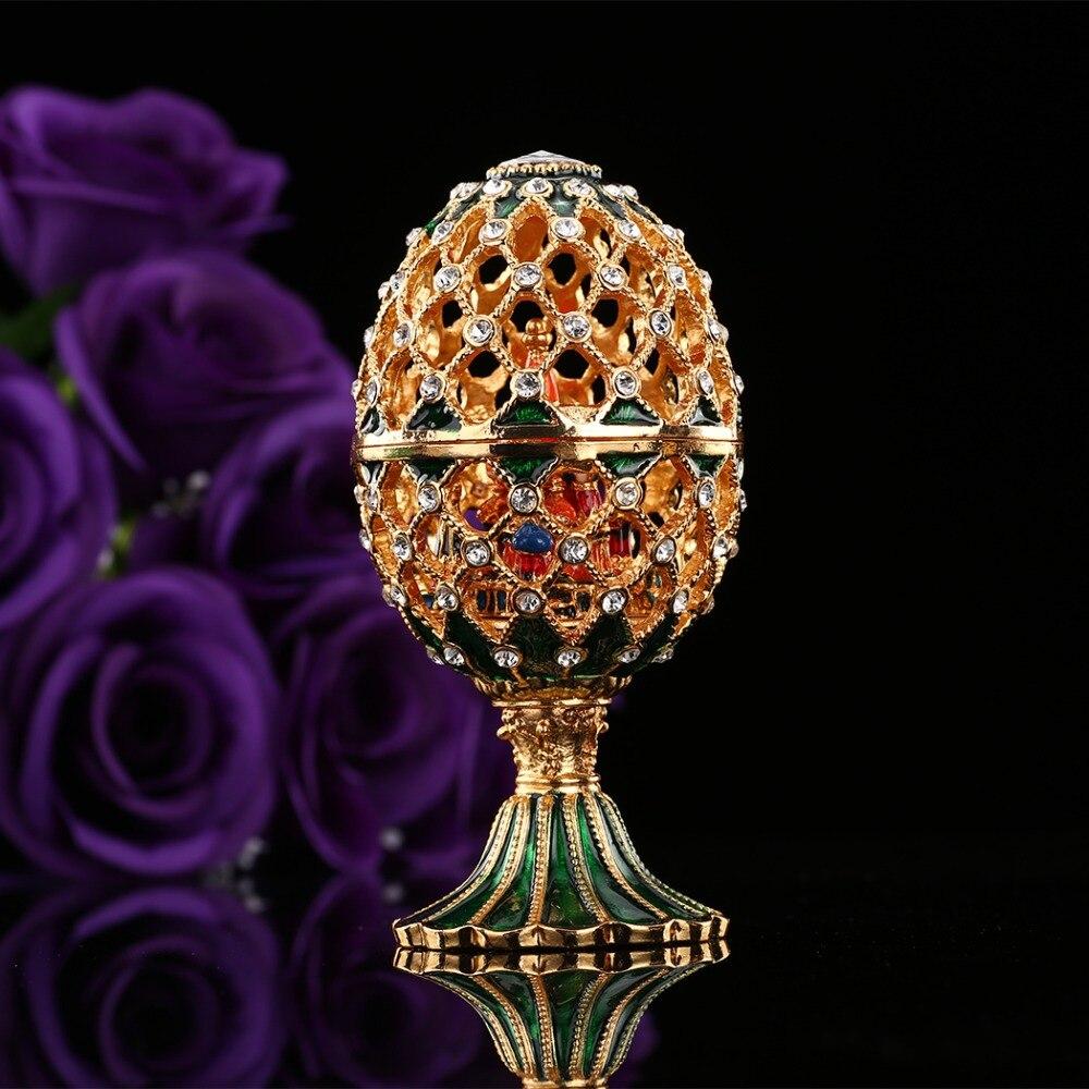 Qifu Luxo Estilo Rússia Faberge Ovo Artesanato Ornamentos Miniaturas