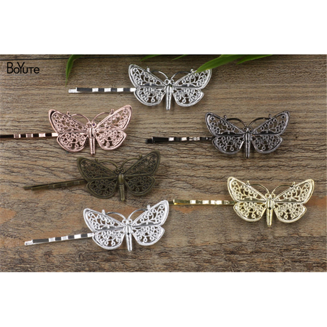 BoYuTe 20 Pieces Filigree Butterfly Hairpin 6 Colors Plated Vintage Women Hair Clip