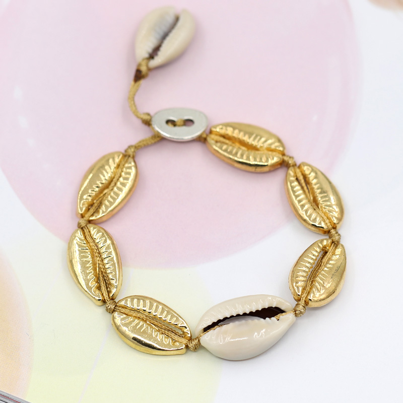 2019 new women 39 s natural shell bracelet hand woven simple bracelet fashion alloy bracelet in Wrap Bracelets from Jewelry amp Accessories