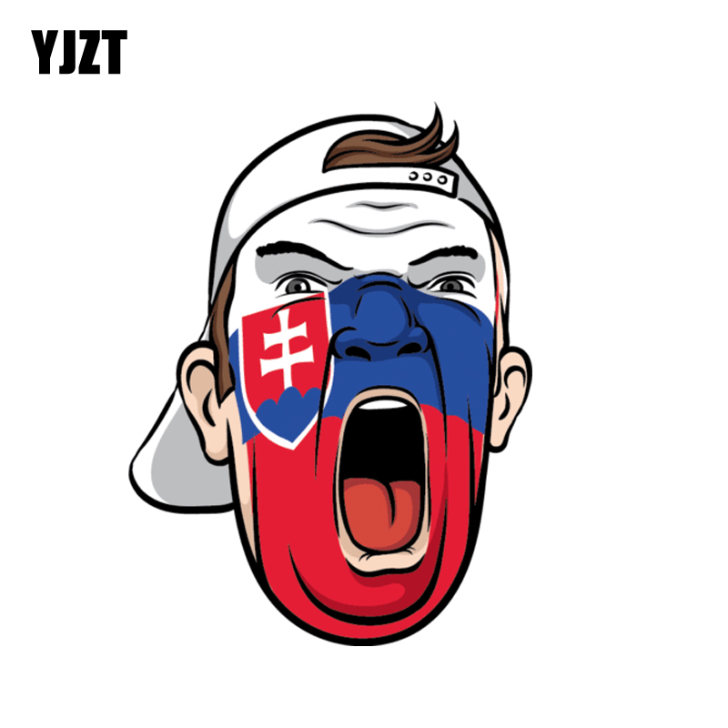YJZT 9.2CM*12.4CM Funny Slovakia Football Fan Face Flag Soccer Decal Helmet Car Sticker 6-1371 image