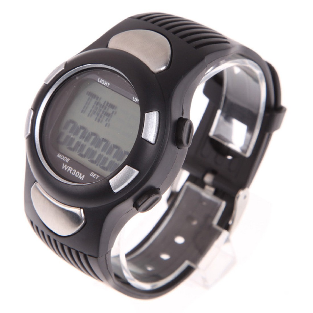 Running 3D Pedometer Heart Rate Monitor Wristwatch Fitness Watch Stappenteller With Backlight Silver