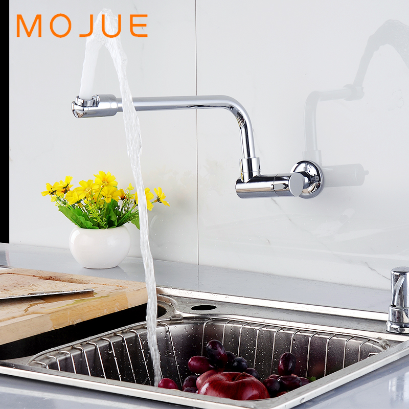 Mojue Kitchen Sink Faucets Wall Mount Single Handle 360 Rotation Chrome Mixer Taps Mj8255 China