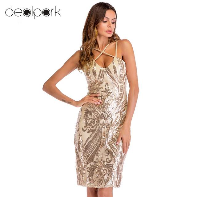 463b674227c HOT Sexy Women Sequin Dress V Neck Backless Luxury Glitter Party Dresses  female Clubwear Midi Bodycon