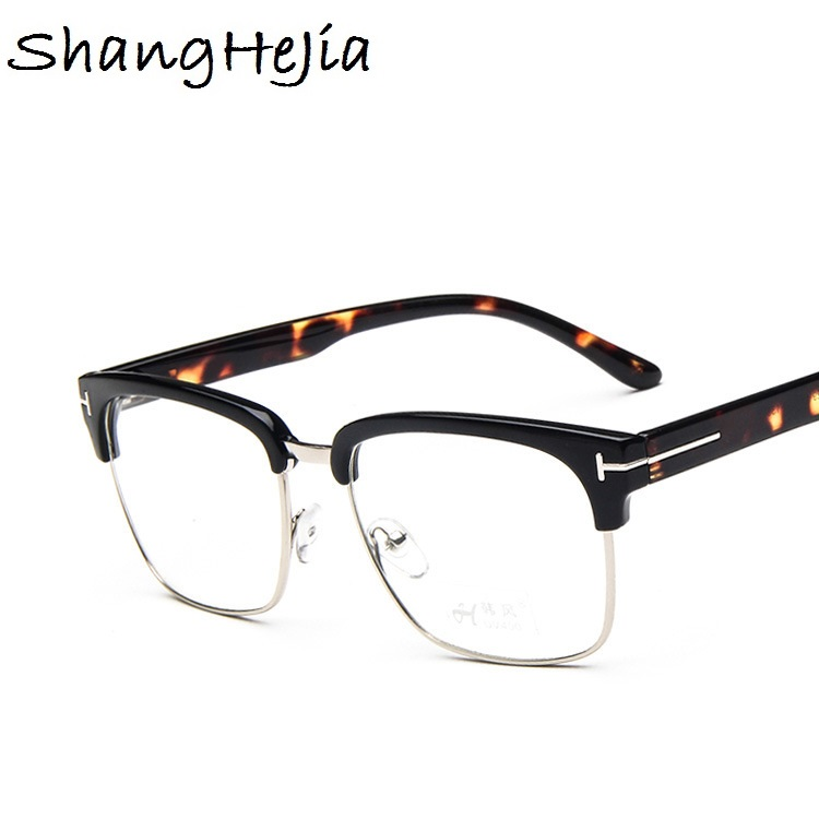 New Half Metal Women Glasses Frame Men Eyeglasses Frame Vintage SquareClear Glasses Optical Spectacle Frame Spectacles