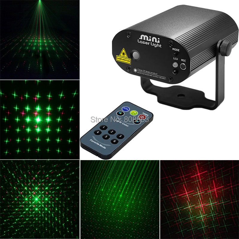 Mini R&G Laser Projector 6 Patterns Remote Effect Lighting Light DJ Dance Disco Bar Xmas Home Party Stage Lights Show D43 new mini red blue line pattern gobo remote laser projector dj club light dance bar party xmas disco effect stage lights show b55