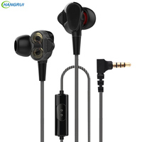 HANGRUI Dual Dynamic Driver Professional In Ear Earphones With Mic Gaming Headsets Auriculares Mp3 DJ Bass