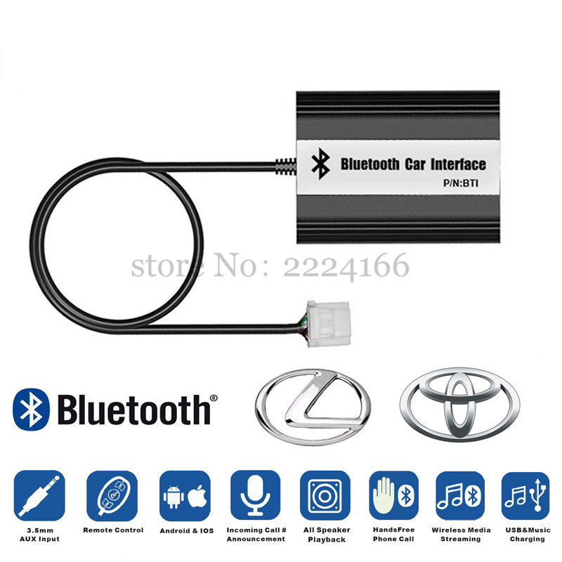 Quality Car Bluetooth A2DP MP3 Music Adapter for Toyota Lexus Scion AUX USB Music Charging Handsfree Kit Car Styling Parts yatour car adapter aux mp3 sd usb music cd changer 6 6pin connector for toyota corolla fj crusier fortuner hiace radios