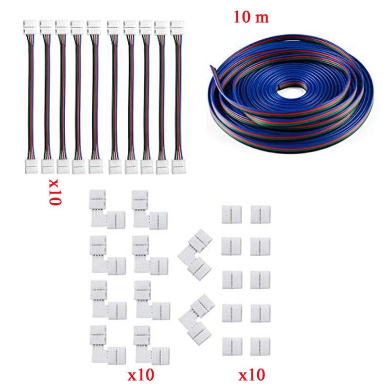 5050 4Pin LED bande connecteur Kit 10 RGB LED connecteur Kit RGB rallonge câble LED bande Jumper L forme connecteurs Gapless Conne