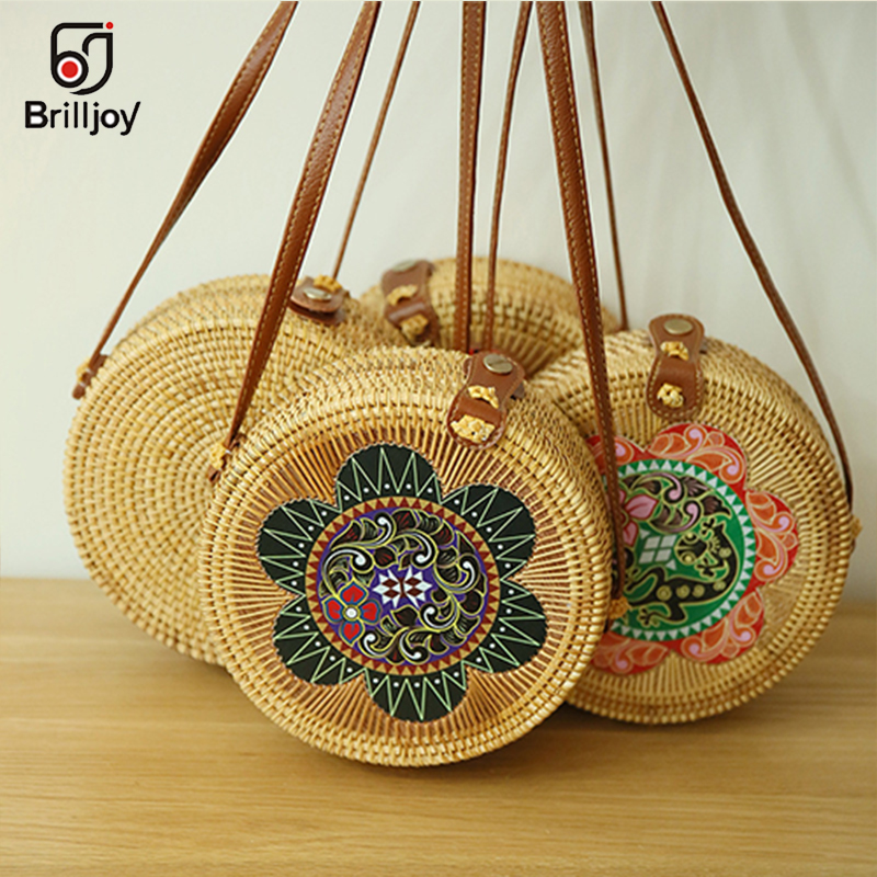 Brilljoy Round Bamboo Handbags Summer Women Handmade Rattan Bag Circle Box Bali Bohemian Beach Totes handbags Knitting Straw Bag