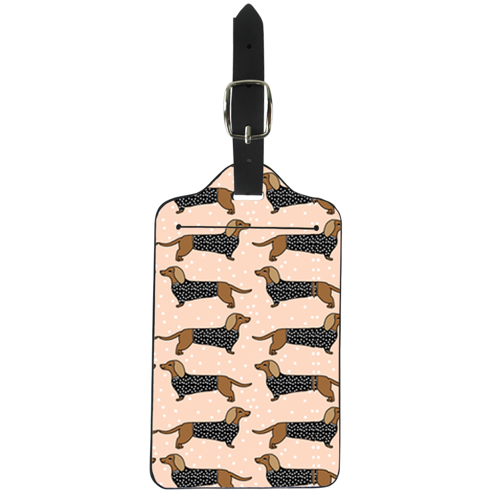 Dachshund Dog Pattern Luggage Tags Women Doxie Sausage Pets Blush Dogs Design Pu Leather Suitcase Name Id Address Holder Ladies ...