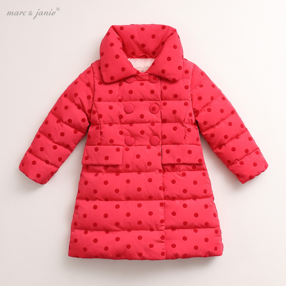 marc janie Winter Baby Toddler Girls' Outerwear Double-breasted Ultra Light Long Down Jacket 16818 baby winter outerwear