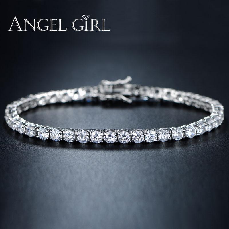 AngelGirl чар кръгла гривна 3/4 / 5mm кубичен цирконий сребърен цвят тенис гривни и гривни за жени модни бижута