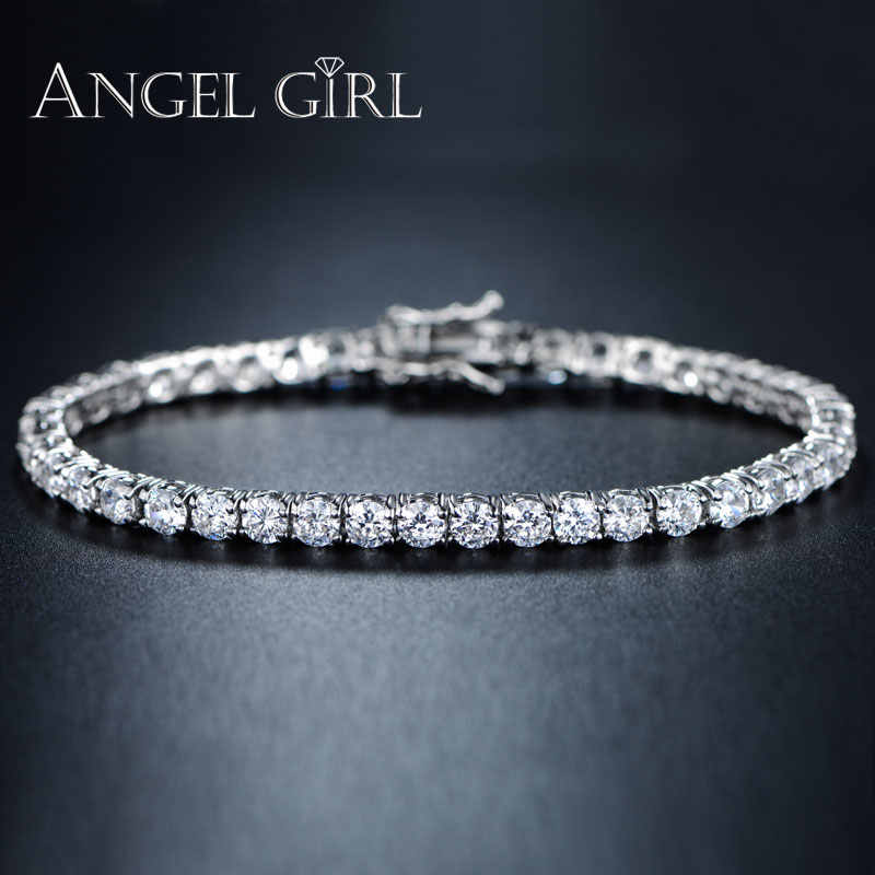 362d893e93606 AngelGirl Charm round bracelet 3/4/5mm Cubic Zirconia silver colour Tennis  Bracelets&bangles for women fashion jewelry for men