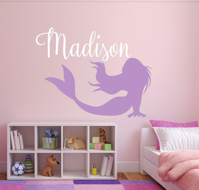 Mermaid Name Wall Decal Personalized Custom Name Wall Stickers - Personalized custom vinyl wall decals for nurserypersonalized wall decals for kids rooms wall art personalized