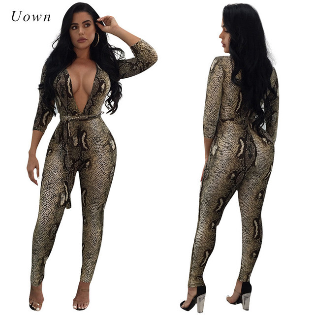a9a9d3f15766 Snake Print Bodycon Jumpsuit for Women 2018 Catsuit Autumn Deep V Neck Sexy Overalls  Long Pants