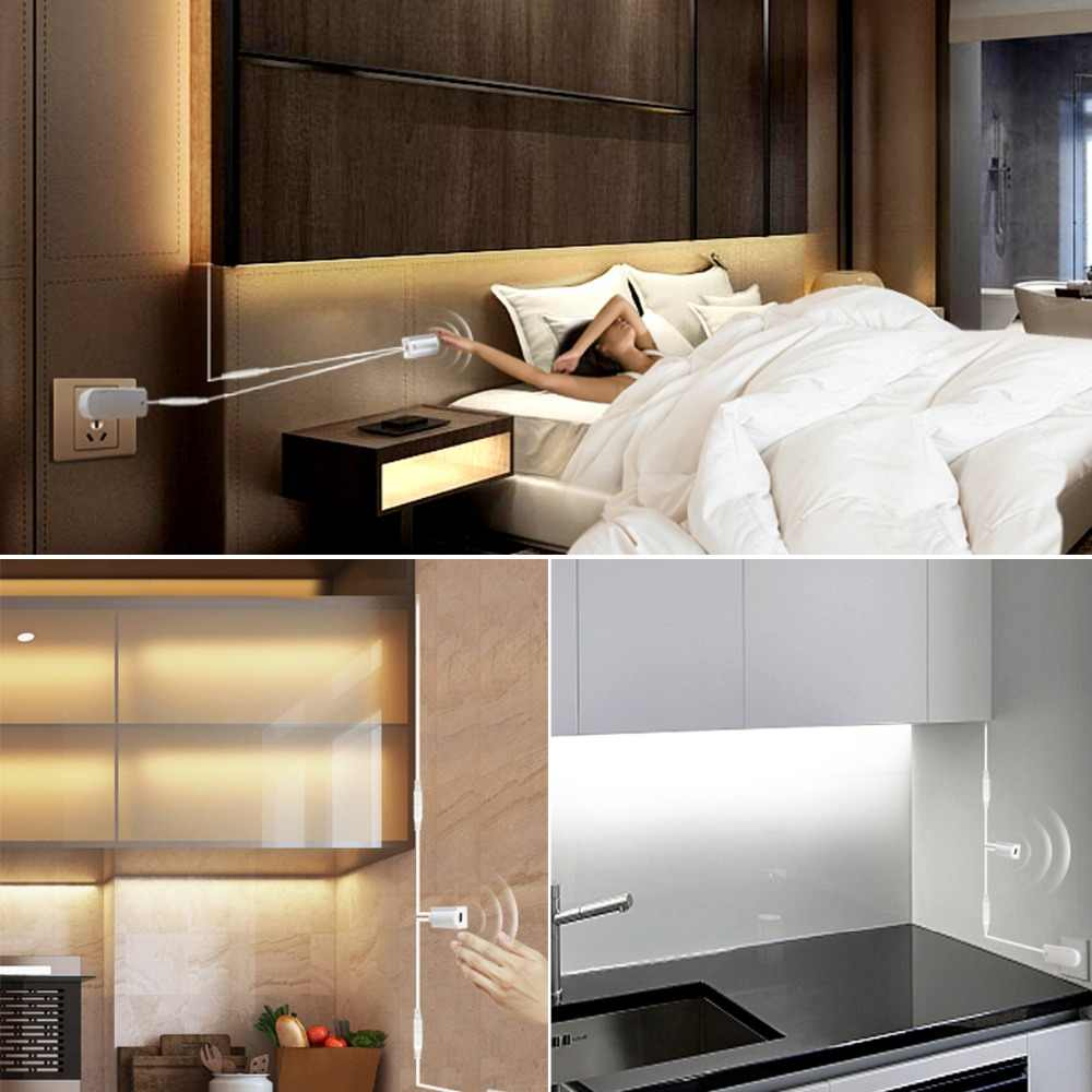 Ручной переключатель датчика, Светодиодная лента, датчик движения, 12 В, ночные светильники, DIY шкаф, гардероб, кухонный светильник, 1 м, 2 м, 3 м, 4 м, 5 м