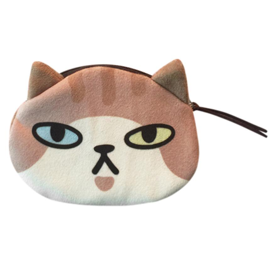 Women Cute Print Cat Face Girl Plush Coin Purse Change Purse Bag Wallet Polyester Cotton Cartoon Bags For Women 2017 Flap Purse
