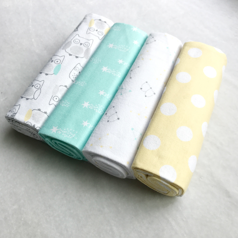 High Quality 4PCS PACK 100 Cotton Supersoft Flannel Receiving Baby Blanket Swaddle Baby Bedsheet 76 76CM