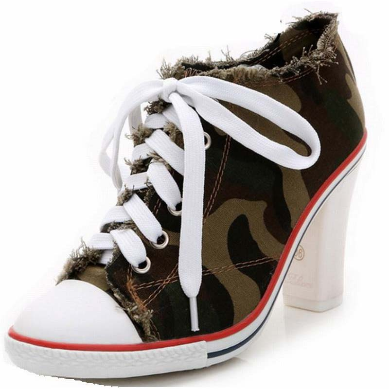 ФОТО 2016 spring new arrival women camouflage high heels denim thick heel pumps ladies printed comfortable canvas lace up female shoe