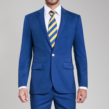Custom Made Trim Fit One Button Blue Groom Tuxedos Notched Lapel Men Groomsmen Suit One Interior Pocket Men Suit (Jacket+Pants)