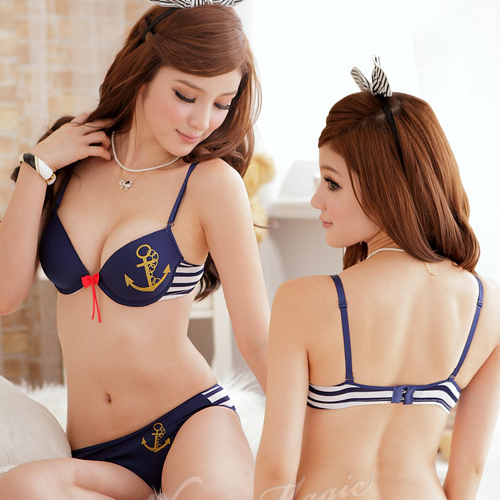 1139 Anchor Blue White Sexy Set Young Girl Bra Set Free Shipping