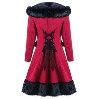 Rosetic Winter Vintage Long Woolen Coat Women Imitation Rabbit Fur Warm Lace Up Casual Hooded Coats Female Christmas Overcoats