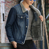 Winter Solid Mens Denim Jacket Fleece Coat Plus Size S 4XL 5XL Bomber Jacket Men Cowboy