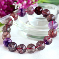 High Quality Natural Genuine Multi Colors Mix Super Seven 7 Finish Stretch Bracelet Round Big Beads Melody Stone 12mm 03720
