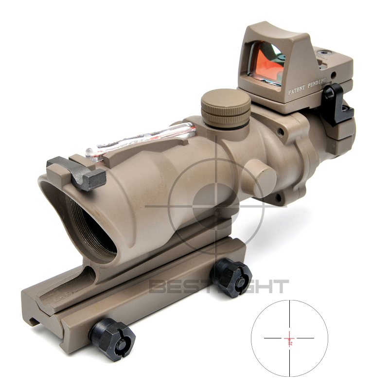Outdoor Sports Trijicon ACOG 4X32 Tan Tactical Real Fiber Optic Red Illuminated Collimator Red Dot Sight Hunting Riflescope olympia le tan джинсовые брюки
