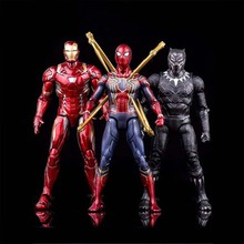 NEW Marvels Avengers Infinity War Iron Spiderman Black Panther PVC Action Figure Spider Man Figure Collectible Model Toy 12-17cm цена
