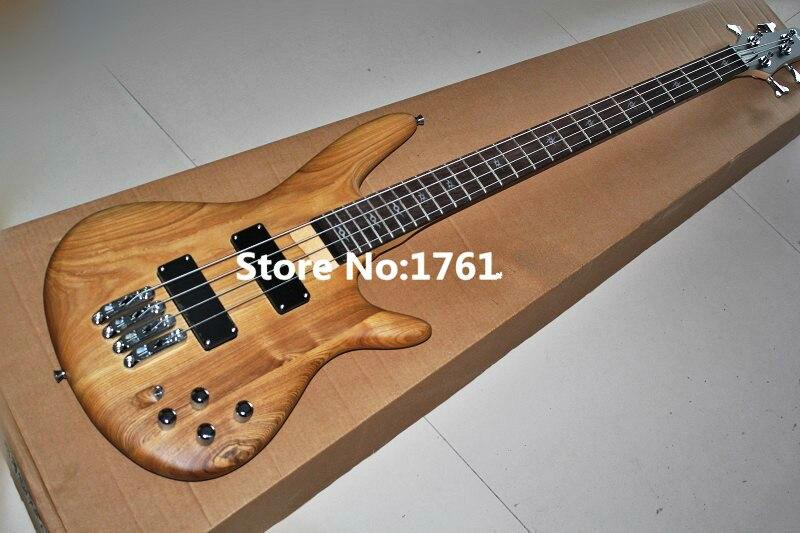 Top qualité Bas prix GYBS-9006 personnalisé 24 frettes 4 cordes Frêne naturel mat en bois couleur bois guitare basse, livraison gratuite
