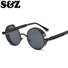 Металлическая Весенняя оправа солнцезащитные очки мужской женский стимпанк брендовая дизайнерская мода классические женские очки ретро круглые панк солнцезащитные очки