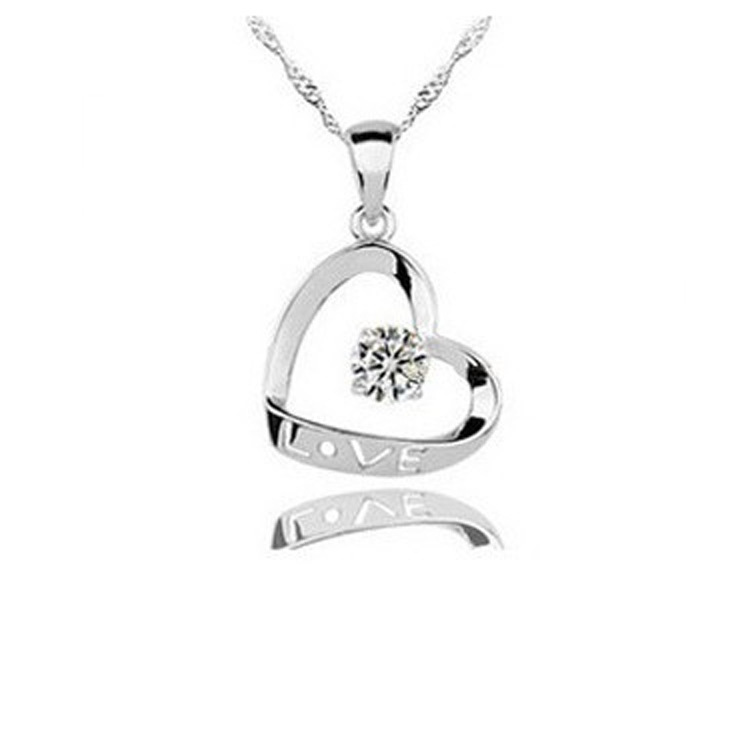 RJ181 Love Letter Heart Necklace For Women Crystal Jewerly Sterling Silver Christmas Gifts Sale Silver Pendant