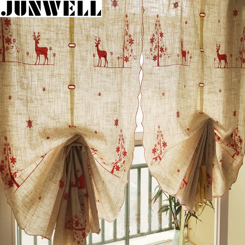 Junwell Poly/Linen Christmas Embroidery Roman Curtain Blinds Home Wave European Kitchen Curtains Living Room Bath Room Balcony