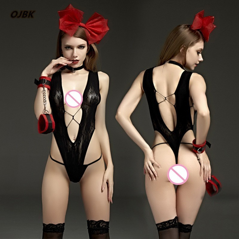 Cosplay Maid See Through Deep V Exotic Apparel Teddy Baby Dolls Dress Erotic Lingerie Adult Underwear for Women Sexy Costumes 1