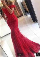 Robe De Soiree Mermaid Red Evening Dress Appliques Formal Celebrity Dresses Off The Shoulder Beaded Evening