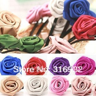 Free Shipping Mix Colors Satin Rose Flower hair clip 50 Pcs/Lot