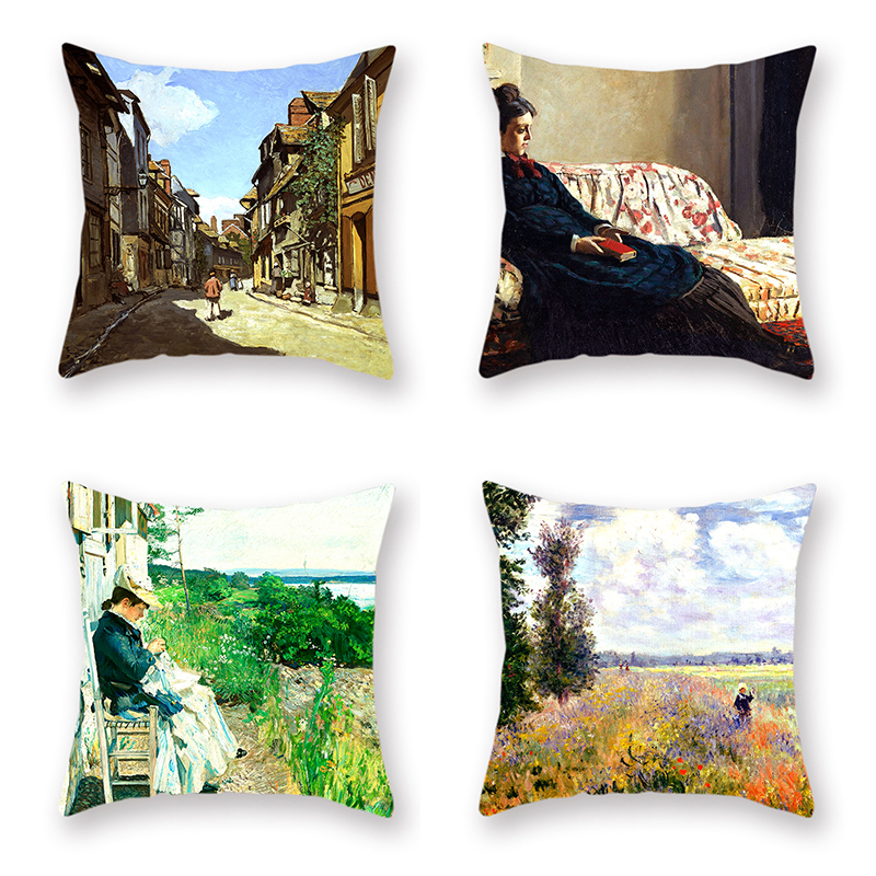 4Pcs French Famous Pillowcase Classical Monetena Estuary Bed Cushion Decorative Cushion Cover Four Season in Cushion Cover from Home Garden