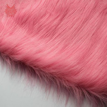 9cm pink plush faux fur fabric for winter coat vest Fur collar 150*50cm 1pc long hair fur fabric DIY tissue free ship SP3911(China)