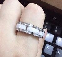 Luxury Brand one layer ceramic Rings for Women Men Couples stainless steel black white soft white black ceramics finger ring