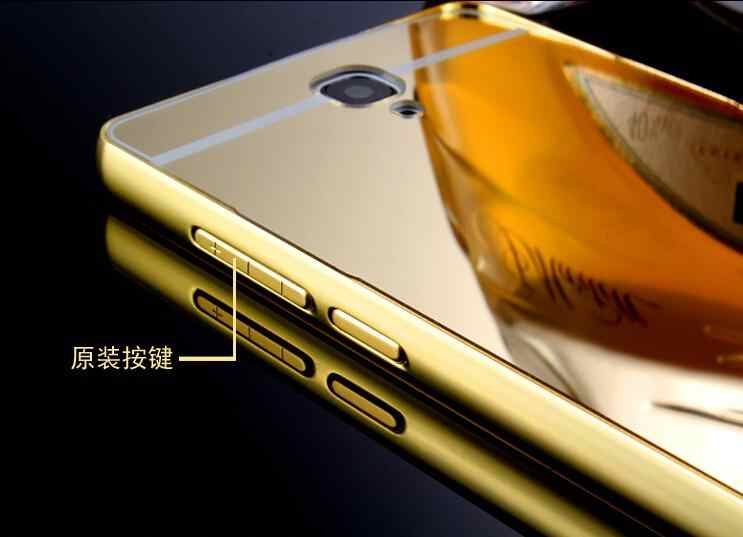 premium selection ef9a1 f7b9b HM RM Note1 for Xiaomi Hongmi Redmi Note Gold plated Aluminum Metal Frame +  Mirror Back Cover Case Phone Bag black Cases