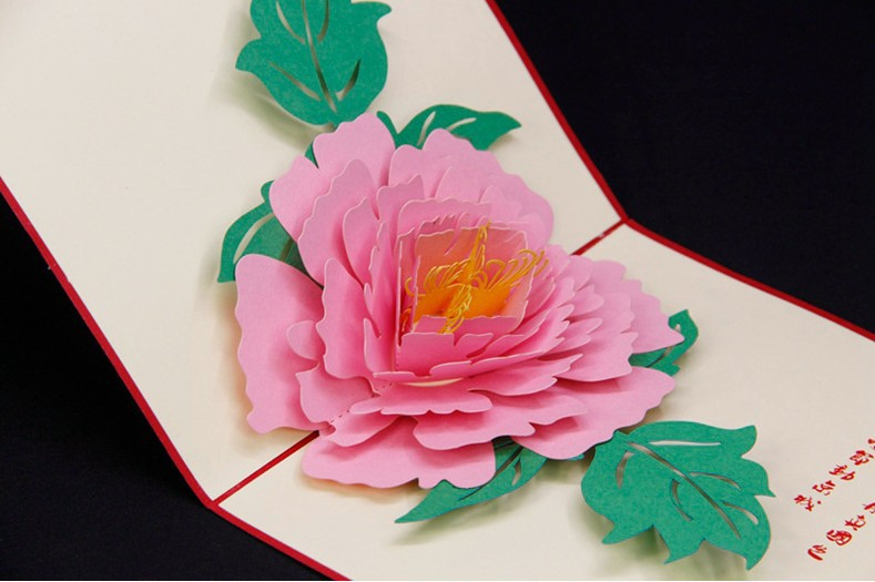 3d Paper Cut Beautiful Peony Greeting Cards Laser Cut Pop Up Cards