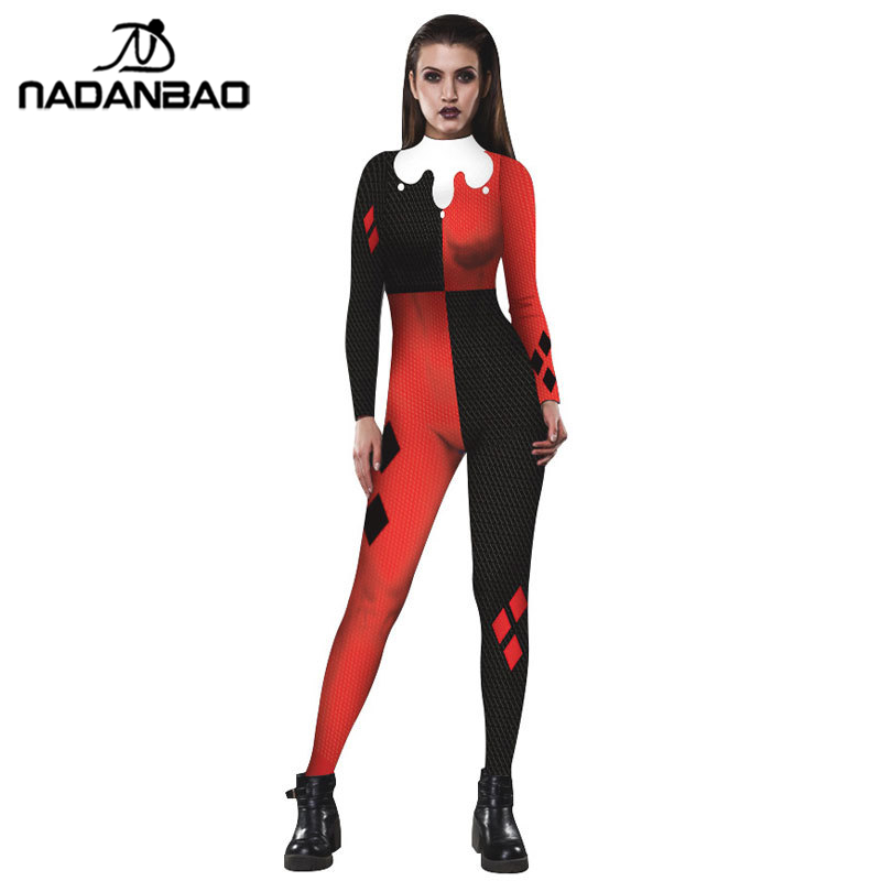 NADANBAO Suicide Squad Harry Quinn Impreso Cosplay Costume Bodysuit Halloween Costumes Plus Size Jumpsuit