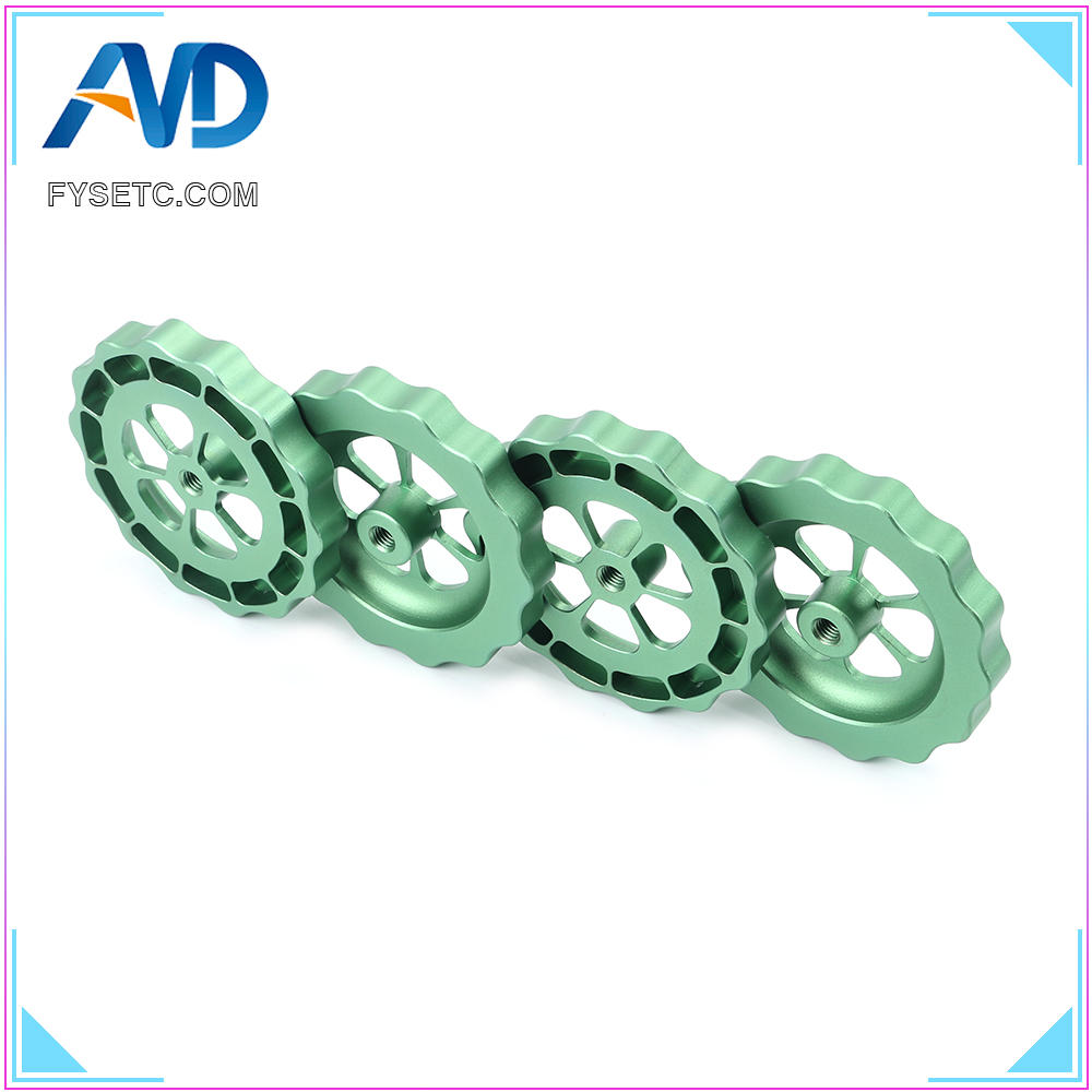4pcs <font><b>3D</b></font> Printer <font><b>Parts</b></font> Big Hand Twist Leveling Nut All Metal Green For <font><b>TEVO</b></font> <font><b>Tornado</b></font> <font><b>3D</b></font> Printer Ultimate Knob Leveler M5 thread image