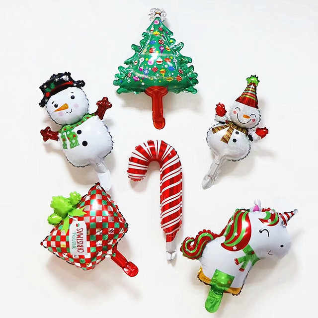 Lucky 1pcs Mini Size Christmas Day Foil Air Balloons Bells Snowman Santa Claus Christmas Tree Decoration Party Supplies Globos
