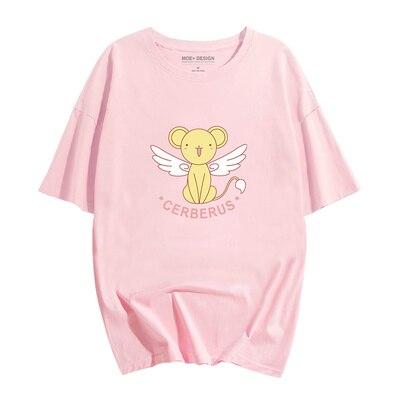 Аниме довец карт Сакура Kinomoto хлопковые футболки для женщин футболка с круглым вырезом короткий рукав Летняя одежда топы тройники - Цвет: Pattern 1